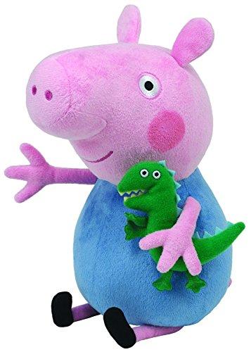 TY 7196231 - Peppa Large - George, Schwein mit kleinem Dinosaurier, 25 cm (Baby Peppa Pig)