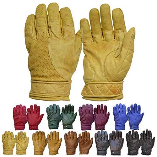 Goldtop Kurz Bobber Leder Motorrad Handschuhe - Gewachste Tan (L - 8,5