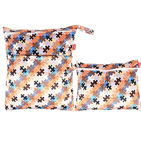 Damero 2pcs Pack Travel Baby Wet and Dry Cloth Diaper Organiser Bag, Puzzle Pattern