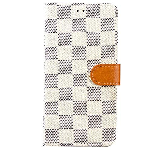 Samsung Galaxy S9Hülle Etui Grid Checker Kunstleder Fashion Designer Magnet Flip Case Skin Cover Ständer mit Karte Halter für S9(weiß) Louis Vuitton Iphone Fällen