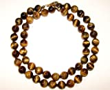 Sunsara - Tiger's Eye Healing Crystal Necklace 8 mm 48 cm knotted