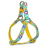 PetLoft Hundegeschirr, Weiche Textur verstellbares Hundegeschirr in Blütenmuster Dual Edelstahl Ringe leicht Leine Clip, S, Floral Blue