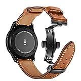 Myada Lederarmband Samsung Galaxy Watch 46mm Armband Samsung Gear S3 Frontier Leder,Smartwatch Armband 22mm Leder Herren Armbänder Samsung Gear S3 Classic Echtes Leder Ersatzband Sport Uhrenarmband
