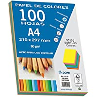 Dohe 30170 - Pack de 100 papeles A4, 80 g, multicolor intenso