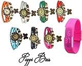 Pappi Boss COMBO OFFER Designer Vintage Leather Set of 7 Multicolor Bracelet Butterfly Watch for Girls, Women – FREE DIGITAL PINK LED BAND WATCH