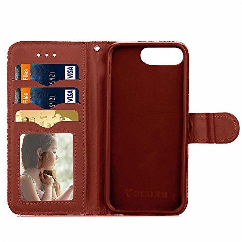 Wkae Case Cover iPhone 7 Plus Cover Case, Housse en cuir Motif Tissage PU TPU avec photo Fenêtre Dragonne Liquide Carte Slots stand pour Apple iPhone7 plus by DIEBELLEU ( Color : Brown , Size : Iphone Brown