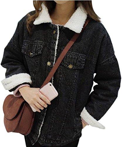 Minetom Damen Winter Plus Samt Jeansjacke Langarm Schlank Warm Wintermantel Winterjacke Plüsch Gefüttert Denim Jacke Mantel Outwear Schwarz DE 40