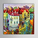 Pittura Paesaggio terrestre Olio zone residenziali con struttura allungata tela dipinto a mano