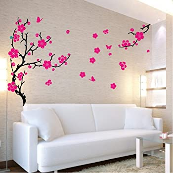 Plum Blossom Wall Sticker (Black Branches, Dark Pink Flowers) Part 96