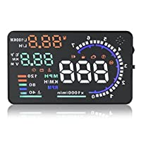 KKmoon Auto Car HUD Head Up Display, 5.5 Inches Large Screen , KM/h & MPH Speeding Warning Windshield Project System OBD2