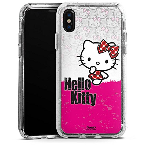 Apple iPhone 7 Bumper Hülle Bumper Case Glitzer Hülle Hello Kitty Merchandise Fanartikel Merchandising Pour Supporters Bumper Case Glitzer silber