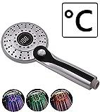 LED Duschkopf mit Temperaturanzeige, 3 Farben LED Handbrause mit 3 Strahlarten wechselbar per Knopfdruck