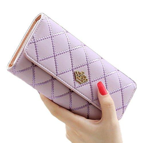 Casadeiy moda donne Lady portafoglio in pelle PU Crown Purse Blue Purple
