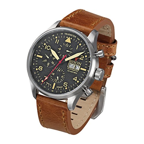 Bison Herren Uhr Armbanduhr Automatik Bison No. 2 BI0002BKCR Leder