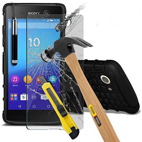 Étui pour Sony Xperia M5 / Sony Xperia M5 E5603, E5606, E5653 Titulaire de téléphone Case voiture universel Mont Cradle Dashboard & pare-brise pour iPhone yi -Tronixs Shock proof +Glass (Black)