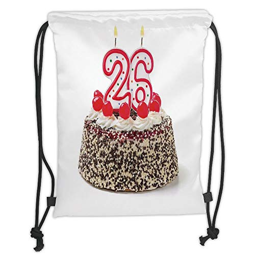 Fashion Printed Drawstring Backpacks Bags,26th Birthday Decorations,Yummy Cake Sweet Anniversary Delicious Dessert Candles Picture,Multicolor Soft Satin,5 Liter Capacity,Adjustable String Closure, Satin-dessert