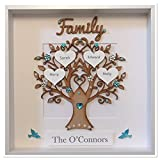 Personalised Family Tree 3D Box Frame Keepsake Wedding Gift Home Christmas Birthday Anniversary Mothers Day Turquoise Gem Birds Up To 14 Names