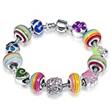 A TE® Armband Charms Emaille Bunte Beads Mädchen Geschenk #JW-B97