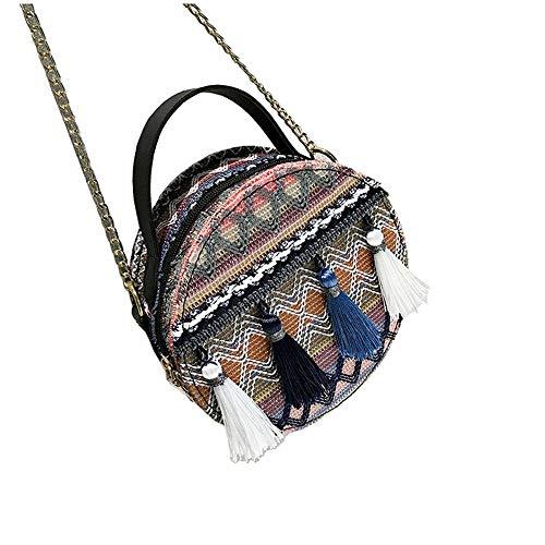 Frauen Top Griff Tasche Woven Woven Crossbody Bag Handtasche Tote Bag Umhängetasche für Damen (Farbe : Blau, Größe : 18 * 18 * 8CM) -
