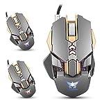 Gaming Maus 3200DPI Professionelle Computer Maus Mäuse mit Kabel 7 Tasten Gewichten 1000HZ 4 Farbe LED Leuchten Maus Spiel für PC Laptop Schreibtisch (Grau)