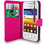 Hot Pink Leather Wallet Flip Case Cover Pouch For Samsung Galaxy Y S5360+ Free Screen Protector & Retractable Touch Stylus Pen - Hot Pink