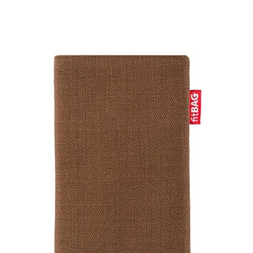 fitBAG Retro Noir housse pochette pour téléphone portable en tissu intérieur en microfibres pour Apple iPhone 6 / 6S / 7 with Apple Leather Case Rave Marron