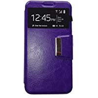 Funda libro Ventana MORADA para ALCATEL ONE TOUCH POP 3 (5.5 pulgadas)