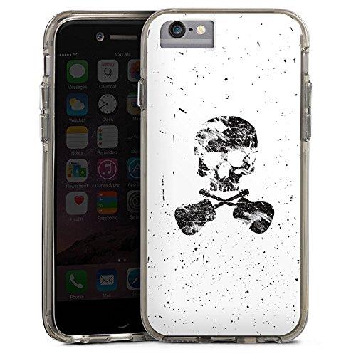 Apple iPhone X Bumper Hülle Bumper Case Glitzer Hülle Ein Toter Dichter Totenkopf Skull Bumper Case transparent grau
