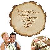 Baumscheibe mit Gravur zur Hochzeit – Bleibt einander stets verbunden… – Motiv Ringe – Türschild, Wandschild, Dekoration als Geschenk-Idee - Hochzeitsgeschenk, Liebesgeschenk