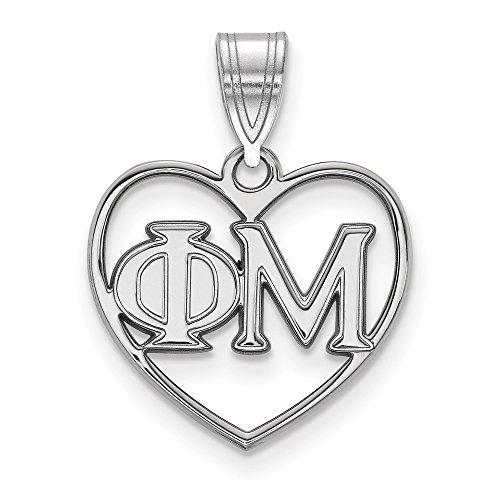 Sterling Silber logoart Phi Mu Herz Anhänger