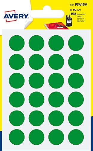 Avery italia psa15v etichette adesive rotonde, a6, verde, 168 pezzi