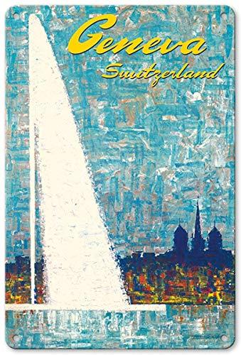 JIA KOAH Geneva,SwitzerlandWater Jet Fountain by Fernando Correta Zinn Wand Zeichen Retro Plaque Hof Vintage Metall Kunstwerk Poster Dekoration Souvenir Fender Metallschild -