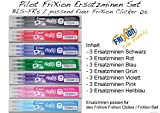 PILOT Tintenroller FRIXION ERSATZMINEN-SET für FriXion Clicker 05, 7 x 3er Sets Minen in allen Farben: blau, schwarz, rot, grün, pink, violett, hellblau