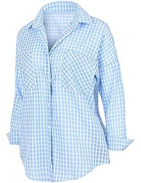ililily Women'S Checkered Pattern Shirt Dress Rolled-Up Cotton Blouse