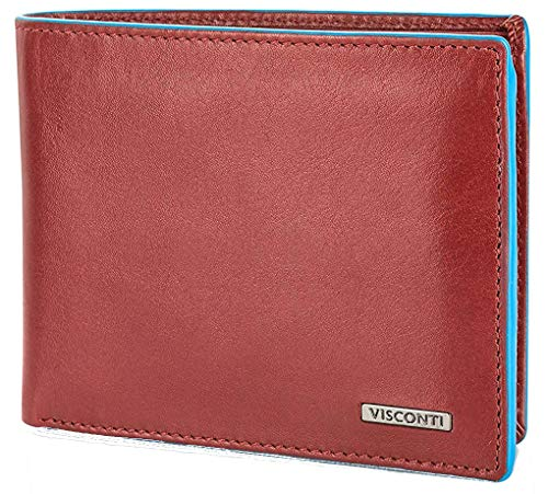 Red Tri-fold Wallet (Visconti Trifold Leder Herren Geldbörse Alps Luxury Leather Wallet (AP52) RFID: (Rot/Blau (Red/Blue)))