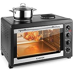Klarstein Masterchef 60 Mini four (2 plaques de cuisson 1600W, four 2500W, 60L, régulateur température: max. 230 °C, nombreux accessoires : grill, tournebroche, plaque) - noir