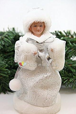 ZHUDJ 18Cm De Neige Pour Les Arbres De Noël De Noël Accessoires Décoratifs Pour Les Petits Ornements Ange Argent Or Argent Blanc 3-Couleurs