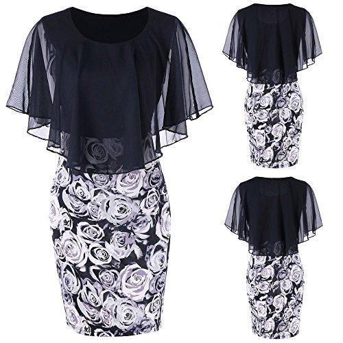 QingJiu Mode Womens Rock Plus Size Rose Print Chiffon Oansatz Rüschen Minikleid