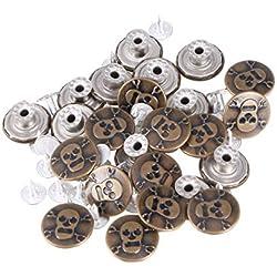 Healifty Kit 25 unidades de reemplazo de botones a presión de metal con calavera