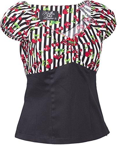 Küstenluder SHEILA Striped Streifen CHERRY Kirschen Retro Bluse SHIRT Rockabill -