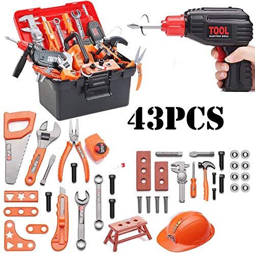 Kinderwerkzeugkasten - 43-tlg. Bau-Tool-Spielzeug Mit Spiel Bohrmaschine