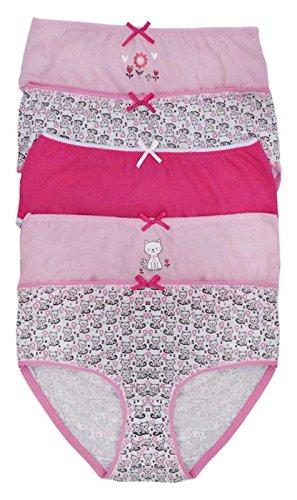 Lora Dora Girls 5 Pack Pares Calzoncillos Set Braguitas Infantil Multipack 100% Ropa Interior de Algodón Talla UK 2-13 Años - Gato Caras, 2-3 Years