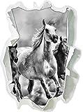 Monocrome, Western Pferde in Wüste mit Fohlen Papier im 3D-Look, Wand- oder Türaufkleber Format: 92x62cm, Wandsticker, Wandtattoo, Wanddekoration