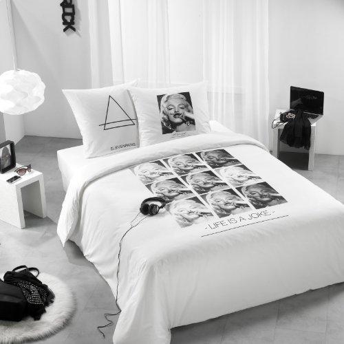 Eleven Paris ART2092 Marilyn Housse de Couette Coton Blanc 140 x 200 cm