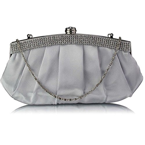 L And S Handbags Diamante Evening Clutch Bag With Chain, Poschette giorno donna Silver