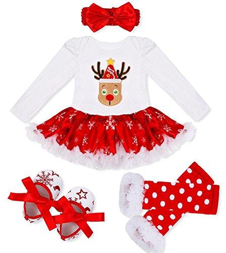 DecStore Baby Mädchen Mein erster Weihnachtskostüm Party Kleid Tutu Kleidung 4PCS Set(Christmas Deer S) -