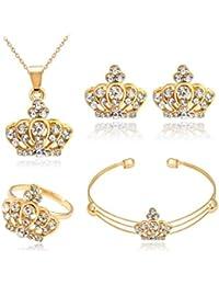 glareshop mujeres corona joyería Set con collar pulsera anillo abierto juego de pendientes de brillantes, Golden, talla única