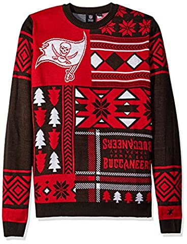NFL Tampa Bay Buccaneers Patches Ugly Sweater, Red,