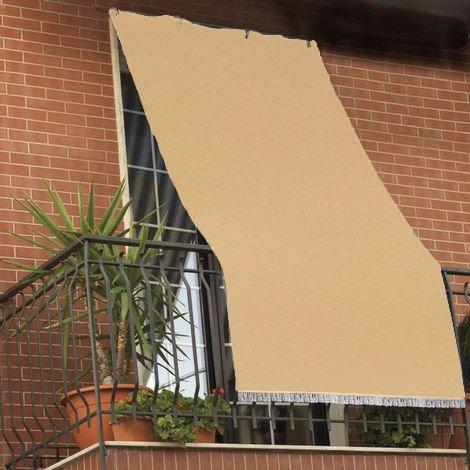 Tenda da sole tessuto resistente per balcone con anelli lavabile a caduta - beige - 200x295 cm