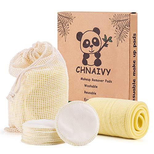 Chnaivy Waschbare Abschminkpads, 3 Schichten 100% Baumwolle Makeup Entferner Pads mit Wäschebeutel,Waschbar Weiche Gesichts Pads Zero Waste Nachhaltige,12 STÜCK - Wie Make-up Man